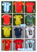 Wholesale Army Baby - Baby Jersey For 6 To 18 Month Baby 2018 World Cup Shirt Argebtina Spain Mexico Colombia Belgian #10 MESSI Russia Kid Jersey 2018 Baby Shirts