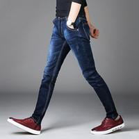 skinny jeans koreanischen stil männer großhandel-Männer Jeans Hosen koreanischen Stil blau Herren Röhrenjeans Mann Slim Fit Stretch Hose Herren Jeans Casual Jeans männlich