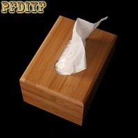 caixa de madeira moderna venda por atacado-PFDIYF Estilo Moderno Caixa De Tecido De Bambu Tipo de Assento Criativo Rolo De Papel Tissue Canister Ecológico Mesa De Madeira Decoração Casa Organizador