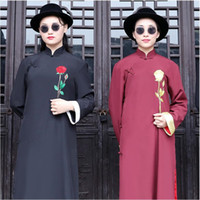 Wholesale Black Qipao Cheongsam - Traditional Chinese Cheongsam Men New Embroidered rose Clothing Ethnic style Wedding party groomsman Qipao Gown male Vestidos fun costume