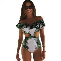 top monokini venda por atacado-Um pedaço swimsuit sexy swimwear mulheres 2017 summer beach wear maiô bandage backless halter top bodysuit monokini