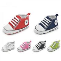 18 aylık ayakkabı toptan satış-0-18 Ay Yenidoğan Bebek Yürüyor Erkek Bebek Kız Yumuşak Sole Beşik Ayakkabı Sneaker Bebek İlk Walkers