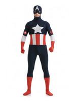 Wholesale female captain america cosplay online - Freeshipping Captain America Superhero Costume Spandex Captain America Cosplay Zentai Suit