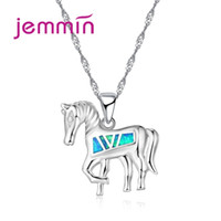 ожерелье из опалового золота оптовых-Jemmin Cute Animal Horse Blue Fire Opal Necklaces For Kids Party Jewelry Accessory 925 Sterling Silver Pendant Necklace For Lady