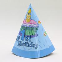 ingrosso cappelli da bagno per bambini-Bambini Favori 1 ° cappelli di decorazione monouso Baby Shower Caps Happy Birthday Party Cartoon Tema Forniture 6pcs \ lotto