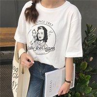 personaje vintage al por mayor-Algodón de las mujeres Verano caliente Nueva moda Carácter vintage Impreso Casual Blanco Suelto de manga corta Mujer O-cuello Camisetas