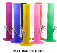 Wholesale Colorful Bamboo Silicone Bongs Smoking Glass Water Pipe Portable Hookah Tobacco Pipes With Glass Bowl Dry Herb Wax Vaporizer