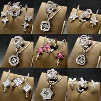 jóias colares design venda por atacado-Design de moda Pérola Brincos Anel Conjunto de Colar de Pérolas Anel para Mulheres Acessórios DIY 925 Presente de Jóias de Prata
