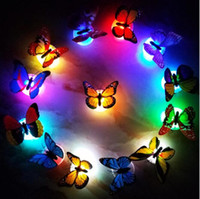 Wholesale wall lights living room online - Butterfly LED Night Light Lamp Colorful Luminous Butterfly Home Wedding Decoration Lights Lamp With Sticker led Wall Decor KKA4395