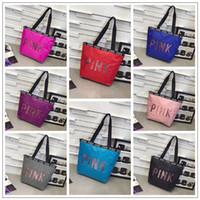 Wholesale ladies doctor bag - 8 Colors PINK Sequin Handbag Pink Letter Handbag Ladies Large Capacity Travel Waterproof Duffle Beach Bag Outdoor Bags CCA9855 12pcs