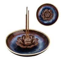 handgemachte keramische blumen großhandel-3 Löcher Glasur Keramik Weihrauch Brenner Halter Handgemachte Lotus Blume Platte Weihrauch Räuchergefäß für Hauptdekoration Ornament