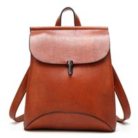 Wholesale orange laptop messengers for sale - New large Simple retro Splice back Messenger woman PU leather backpack girl school bags metal buckle travel laptop leisure bag schoolbag