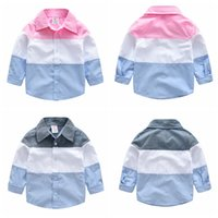 98da3b30154f Boys Stripe Patchwork Shirt Toddler Cotton Outfit Clothing Spring Autumn  Children Lapel Long Sleeve Blouse Baby Gentleman s Tops AAA1062