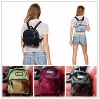 Wholesale rucksack leather - 5 Colors Pink Laser PU Leather Mini Backpack Letter Bags Girls Fashion Outdoor Sports Travel Rucksack Waterproof Shoulder Bag CCA9995 12pcs