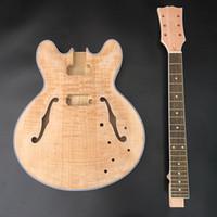 kostenlose gitarren-kits großhandel-DIY Unfinished Guitar Kit E-Gitarre, Mahagoni Hals mit Palisander Griffbrett, ohne Gitarre Teile, freies Verschiffen!