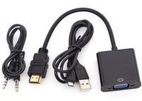câble usb hdmi pour ordinateur portable achat en gros de-1080 HD HDMI vers VGA Adaptateur Convertisseur Avec Sortie Audio USB Câble de Charge Pour PC Portable HDTV PS3 30PCS / LOT