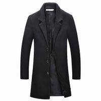 2018 Medium Long jackets Men's casual thicken woolen trench coat business coats winter Male solid color Slim fit overcoat