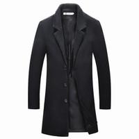 iş rahat erkek ceketi toptan satış-2018 Orta Uzun ceketler erkek rahat kalınlaşmak yün trençkot iş mont kış Erkek düz renk Slim fit palto
