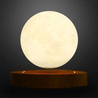 holz magnetischen 3d großhandel-Magnetschwebende 3D Mond Lampe Holzsockel 10cm Nacht Lampe schwimmende romantische Licht Dekoration für Schlafzimmer