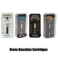 Wholesale brass knuckle gold online - Brass Knuckles Connected Abracadabra Cartridges Gold Tank ml Dual Cotton Ceramic Coil Thick Oil Atomizer With Flavour Sticker