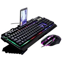 teclados de jogos iluminados venda por atacado-G700 Jogo Luminous Wired USB Mouse e Teclado Terno Com Rainbow Backlight Luzes LED Teclado Mecânico Gaming Mouse