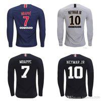 xxl tayland futbolu toptan satış-Tay 18 19 PSG uzun kollu futbol formalar CAVANI üçüncü maillot MBAPPE futbol gömlek 2018 2019 NEYMAR JR jersey paris maillot de ayak