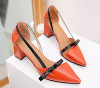 Wholesale Thick Heel Womens Shoes - 2018 New Arrive Womens 3Color Thick Heel Patent Leather Party Shoes Pointed Toe Bowknot Dress Shoes High Heels Weddings Shoes