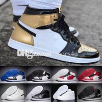 Wholesale material silver - Cheap 1 High OG NRG Gold Top 3 Authentic Quality Real Leather Original Material Man Basketball Shoes 861428-001 Sneakers 7-13