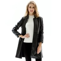 черные пальто для женщин оптовых-Oversized Spring Autumn Women Patchwork Faux Leather Jacket Long Sleeve Black Motorcycle PU Biker Coat Trench Jacket Cardigans
