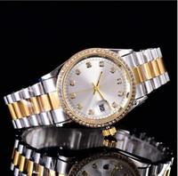 wo oro al por mayor-Top venta de alta calidad elegante marca de lujo2018 diseñador de moda reloj de oro damas calendario automático de acero inoxidable relojes de diamantes para wo