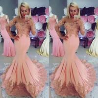 pfirsich rosa abendkleider großhandel-Peach Pink Mermaid Abendkleider mit langen Ärmeln, Spitzenapplikationen, Perlenstickerei, durchsichtig