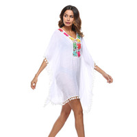 Wholesale Evening Blouses - Women multicolor blouse Fashion Sexy Rash guards Summer Evening Party Beach clothing Outdoor beach bikini national style hollowed out A1903
