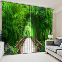 ingrosso finestre di bambù-3D Tende Bamboo Landscape Tenda oscurante per soggiorno Finestra Custom Living room Decoration