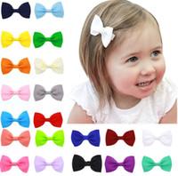 handgefertigte clips großhandel-20 PC / Los Babys Mehrfarbengrosgrainband hairbows handgemachter Haarnadelclip-Haarzusatz für Mädchen reizende Haarnadel