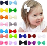 Wholesale handmade hairbows - 20 pcs lot baby girls multicolor grosgrain ribbon hairbows handmade hairpin clip hair accessories for girls lovely hairpin