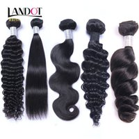 Wholesale Jerry Wave 14 Inch - Brazilian Malaysian Indian Peruvian Virgin Human Hair Weaves 20 30 Bundles Body Wave Straight Loose Deep Wave Jerry Curly Hair Natural Black