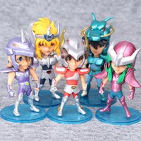ingrosso figura zodiaco-5 pz / set 10 cm Saint Seiya Action Figures Cavalieri della bambola dello zodiaco Janpaness Anime Cartoon Giocattoli per bambini Regali di Natale