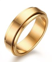 Wholesale spinner steel resale online - Wedding Ring mm K Gold Plated L Stainless Steel spinner wedding Ring for men and women size Wedding Engagement Promise Band