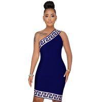 elbiseler için bir boyut toptan satış-Toptan ücretsiz kargo artı boyutu 3XL yaz kadın afrika 3D baskılı seksi kulübü bir omuz kısa elbise parti bodycon elbiseler vestido giymek