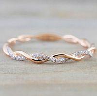 edelstahl diamant trauringe groihandel-Designer Luxus Trauringe Schmuck der neuen Art-Runde Diamant-Ringe für Frauen Thin Rose Gold Farbe Twist Seil Stacking in Edelstahl
