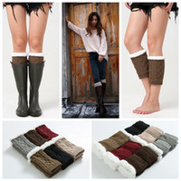 Wholesale girl knit boots online - 12styles Girls Winter Short Leg Warmers Fashion Knit Wool Women Warm Crochet Knit Boot Socks Toppers Cuffs Popular street warmers FFA1126