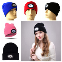 Wholesale wholesale sport beanie hats online - 6 LED Headlamp Beanie Cap Rechargeable Lighted Hat With LED Head Light Flashlight For Outdoor Evening Sport Camping Party Hats OOA5646
