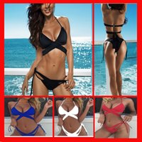 Wholesale one piece swimsuits womens swimwear - Bikini sets Swimwear women New Sexy Bandage Brazilian Trousers Split Lady swimsuits Sexy Multicolor Split for lady womens