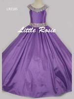 тафта розовый цветок девушка платье оптовых-Довольно розовый фиолетовый красный Тафта бисер девушки цветка платья принцессы платья девушки конкурс платья на заказ размер 2-6 8 10 12 14 KF326185