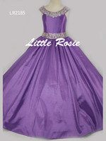 pretty dresses flower beads großhandel-Ziemlich Pink Lila Rot Taft Perlen Blumenmädchenkleider Prinzessin Kleider Mädchen Festzug Kleider Nach Maß Größe 2-6 8 10 12 14 KF326185