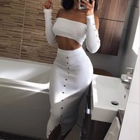 ingrosso vestiti rivettati-BKLD Knitting Rivet maniche lunghe Crop Top e gonna lunga Set 2018 Autunno Sexy Slit Bodycon due pezzi Set Party donna Casual Suit