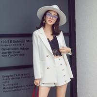 mini chaqueta al por mayor-Elegante dama de oficina traje corto conjunto mujer 2 piezas conjunto color blanco chaqueta Blazer + cintura alta Mini pantalón trajes mujer chándal