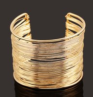 ingrosso grandi donne in argento bracciali-2018 Monili di modo delle donne Oro e argento di alta qualità multistrato apertura larga bracciali braccialetti regalo D856L