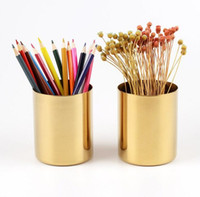 Wholesale Chrome Plated Stainless Steel - 400ml Nordic style brass gold vase Stainless Steel Cylinder Pen Holder for Desk Organizers and Stand Multi Use Pencil Pot Holder Cup contain