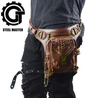 Discount fanny packs - Cool SteamPunk Leather Waist Bag Retro Brown Crossbody Bag Rock Men Women Gothic Black Fanny Packs Fashion Motorcycle Leg Bags